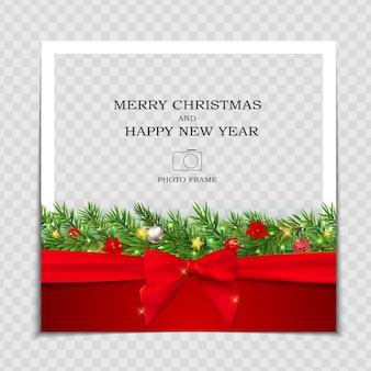 メリークリスマスと新年あけましておめでとうございますフォトフレームテンプレート