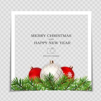 С рождеством и новым годом шаблон фоторамки.