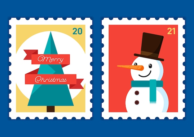 С рождеством и новым годом шаблон почтовой марки с елкой и снеговиком