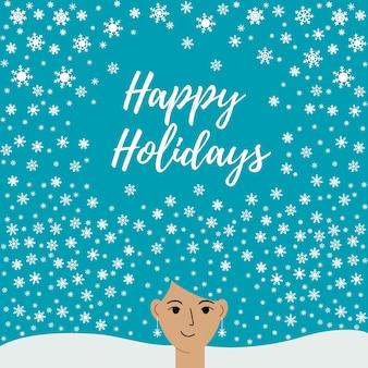 즐거운 성탄절 보내시고 새해 복 많이 받으세요. 머리에 눈송이가 있는 아름다운 여성이 있는 엽서. 포스터, 배경, 엽서, 초대장. 벡터 평면 그림
