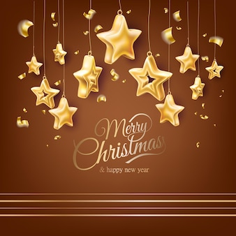木のおもちゃの星とメリークリスマスと新年あけましておめでとうございますポスター