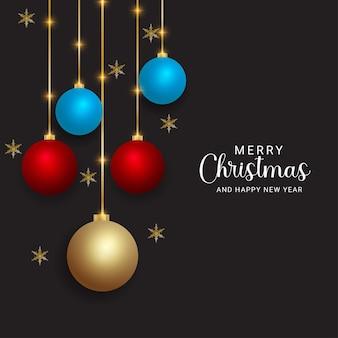 메리 크리스마스와 새해 복 많이 받으세요 현실적인 크리스마스 공 크리스마스 조명과 검은 배경으로 황금 눈송이