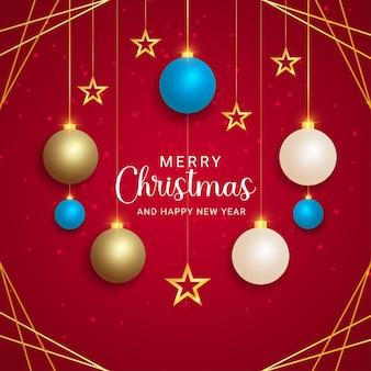 메리 크리스마스와 새해 복 많이 받으세요 현실적인 황금과 하늘색 공 황금 별 빨간색 배경