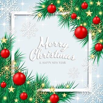 기쁜 성 탄과 새 해 복 많이 받으세요 현실적인 인사말 카드