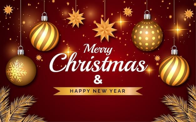 メリークリスマスと新年あけましておめでとうございます赤い色の背景と金色のボール