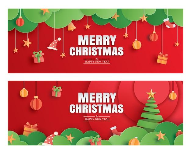 ペーパーアートバナーテンプレートのメリークリスマスと新年あけましておめでとうございます赤いグリーティングカード。