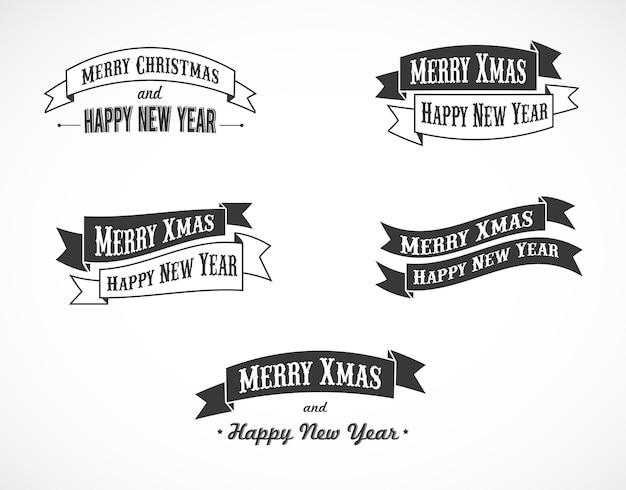 기쁜 성 탄과 새 해 복 많이 받으세요 리본. 배너, 포스터 또는 인사말 카드 배경