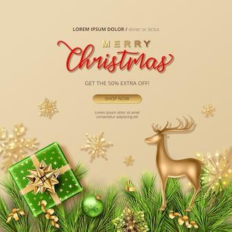 С рождеством и новым годом распродажа баннер с подарком и фигуркой золотого оленя