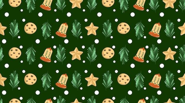 メリークリスマスと新年あけましておめでとうございますシームレスパターン背景イラストベクトル