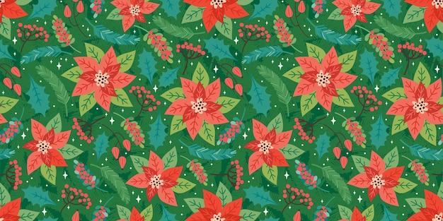 メリークリスマスと新年あけましておめでとうございますシームレスパターン。クリスマスの花の要素、ポインセチア、ヒイラギの葉、赤い果実、モミの枝とお祭りの背景。トレンディなレトロなスタイル。