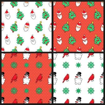 メリークリスマスと新年あけましておめでとうございますシームレスパターンセットクリスマスツリー雪だるま鳥とサンタクロース。冬の休日の包装紙。バックグラウンド