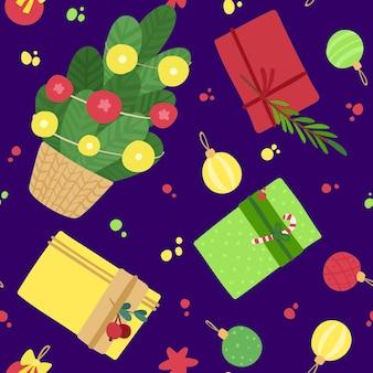 Веселого рождества и счастливого нового года. бесшовный фон с подарочными коробками, елкой и игрушками