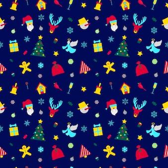 メリークリスマスと新年あけましておめでとうございますサンタとクリスマスの要素とのシームレスなパターン。冬の休日の包装紙。バックグラウンド