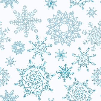 Merry Christmas and Happy New Year seamless pattern with snowflakes.