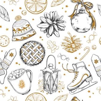 メリークリスマスと新年あけましておめでとうございますシームレスパターン