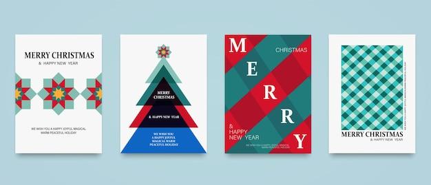 С рождеством и новым годом набор фонов, плакатов, обложек или открыток. абстрактные праздничные шаблоны с рождественской елкой звездой, красной и зеленой клетчатой текстурой.