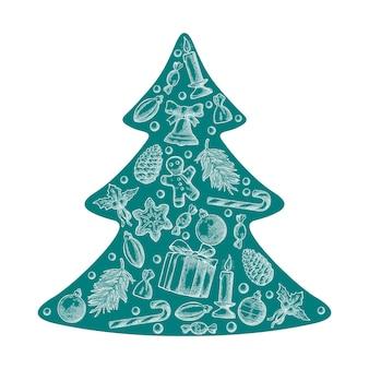 기쁜 성 탄과 새 해 복 많이 받으세요 전나무 나무 모양 벡터 조각 설정
