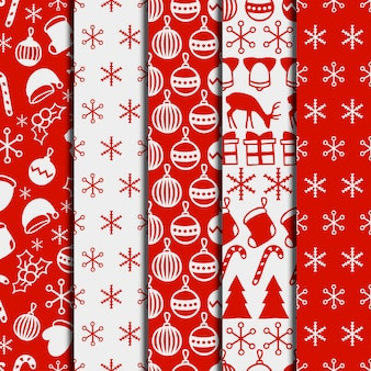 Merry Christmas and Happy New Year set. Seamless pattern. Winter holiday backgrounds