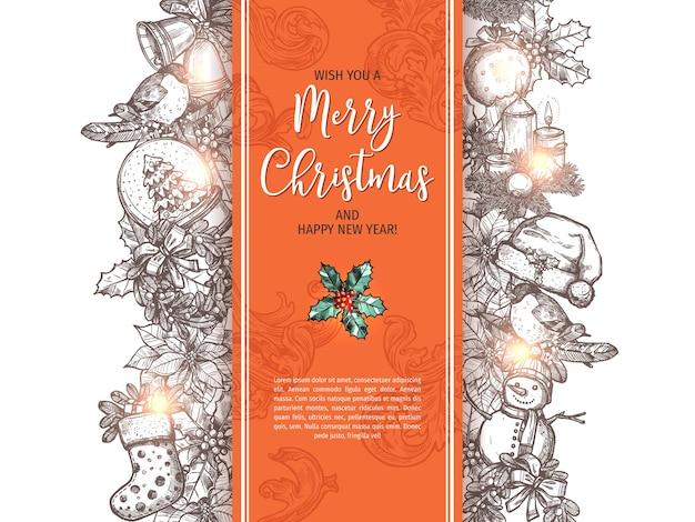 기쁜 성 탄과 새 해 복 많이 받으세요 스케치 인사말 카드, 포스터 또는 배경.