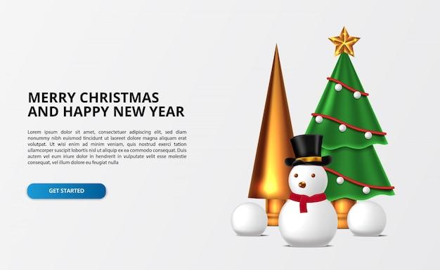 Веселого рождества и счастливого нового года. снеговик милый 3d с елкой с украшениями и золотой конус со снежком.