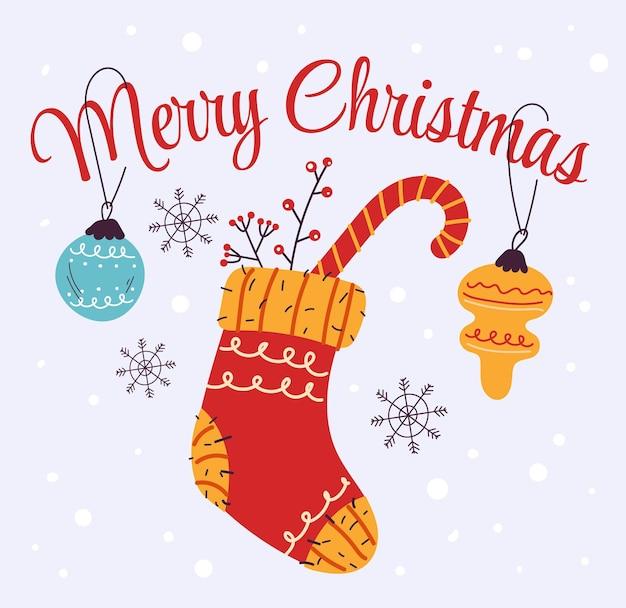 Счастливого рождества и счастливого нового года носки карты баннер плакат дизайн элемент вектор плоской иллюстрации