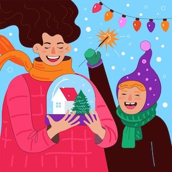 С рождеством и новым годом квадратный дизайн поздравительная открытка веселая мама и дочь или сын держат