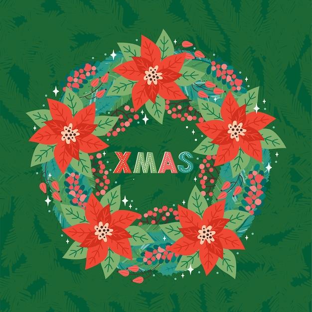 レトロなスタイルのメリークリスマスと新年あけましておめでとうございますの正方形のグリーティングカードまたはバナー。モミの枝、ヒイラギの葉、赤い果実、ポインセチアの華やかなクリスマスリース。クリスマスの挨拶のテキスト。