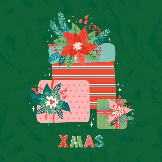 レトロなスタイルのメリークリスマスと新年あけましておめでとうございますの正方形のグリーティングカードまたはバナー。モミの枝、ヒイラギの葉、赤い実、ポインセチアで飾られた贈り物の山。クリスマスの挨拶のテキスト。
