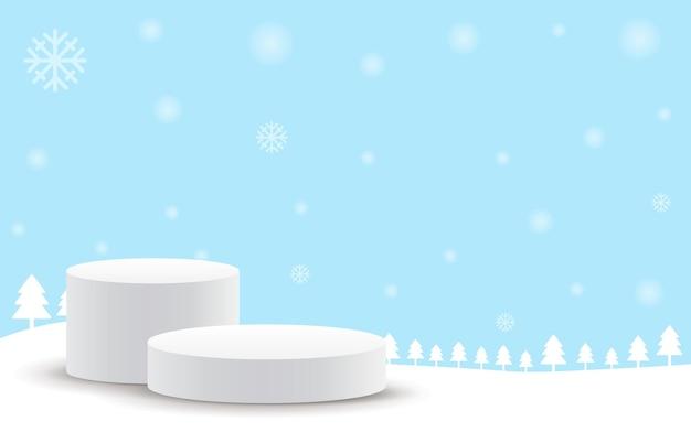 メリークリスマスと新年あけましておめでとうございますステージ台座または表彰台