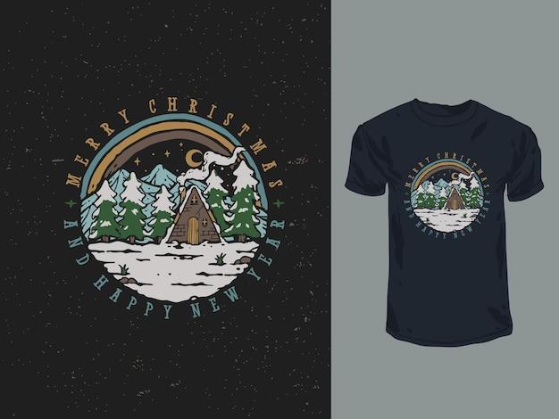 メリークリスマスと新年あけましておめでとうございますtシャツのデザインイラスト