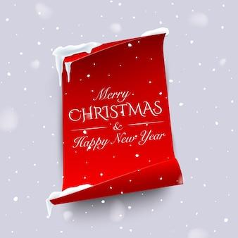 降雪の背景に湾曲したエッジを持つ垂直の赤い紙にメリークリスマスと新年あけましておめでとうございますのテキスト