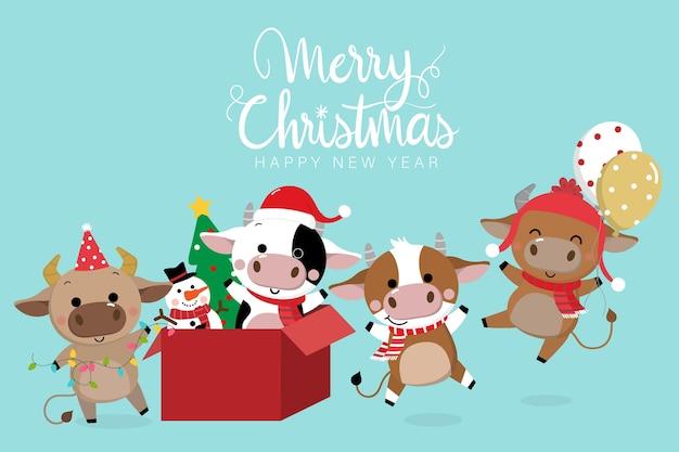 Веселого рождества и счастливого нового года . год быка.