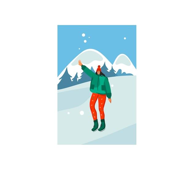 メリークリスマスと新年あけましておめでとうございます時間漫画イラスト