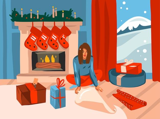 Счастливого рождества и счастливого нового года мультфильм иллюстрации