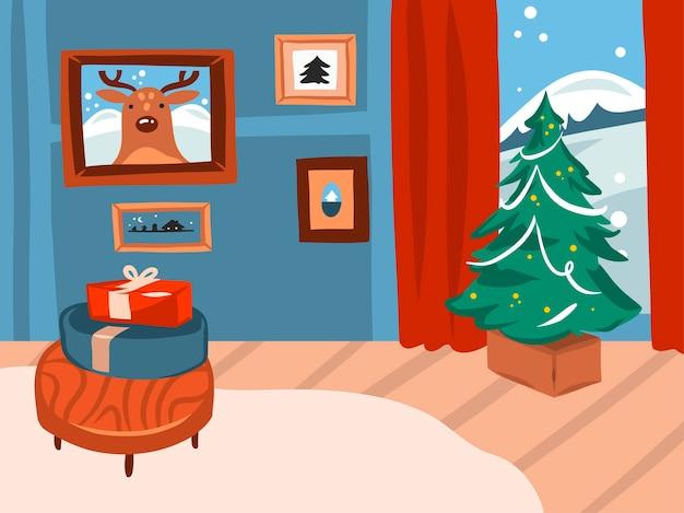 기쁜 성 탄과 새 해 복 많이 받으세요 시간 만화 그림