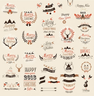 Merry Christmas and Happy New Year typography design and labels
