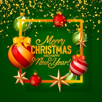 Веселого рождества и счастливого нового года, векторный фон, дизайн