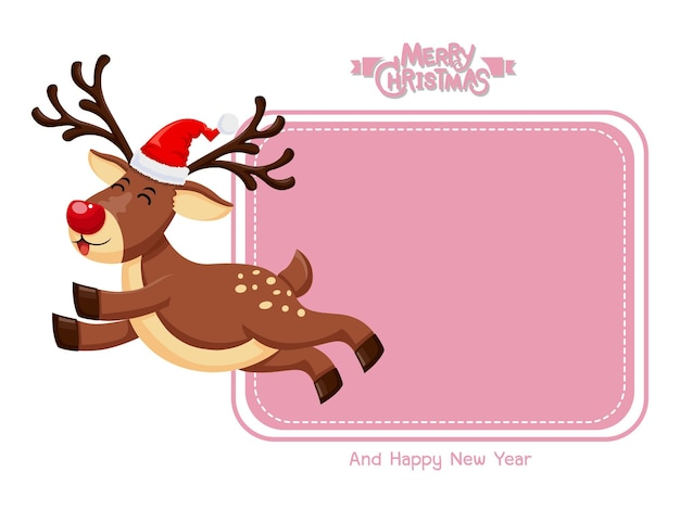 Веселого рождества и счастливого нового года. поздравительная открытка вектора маленький северный олень с красным носом. декоративный элемент на праздник.