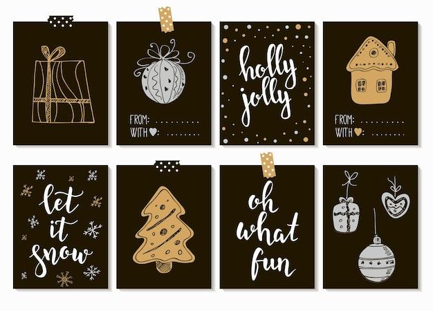 기쁜 성 탄과 새 해 복 많이 받으세요 빈티지 선물 태그 및 서 예 카드. 필기체 글자. 손으로 그린 디자인 요소.