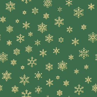 기쁜 성 탄과 새 해 복 많이 받으세요 겨울 골든 눈송이 완벽 한 패턴.