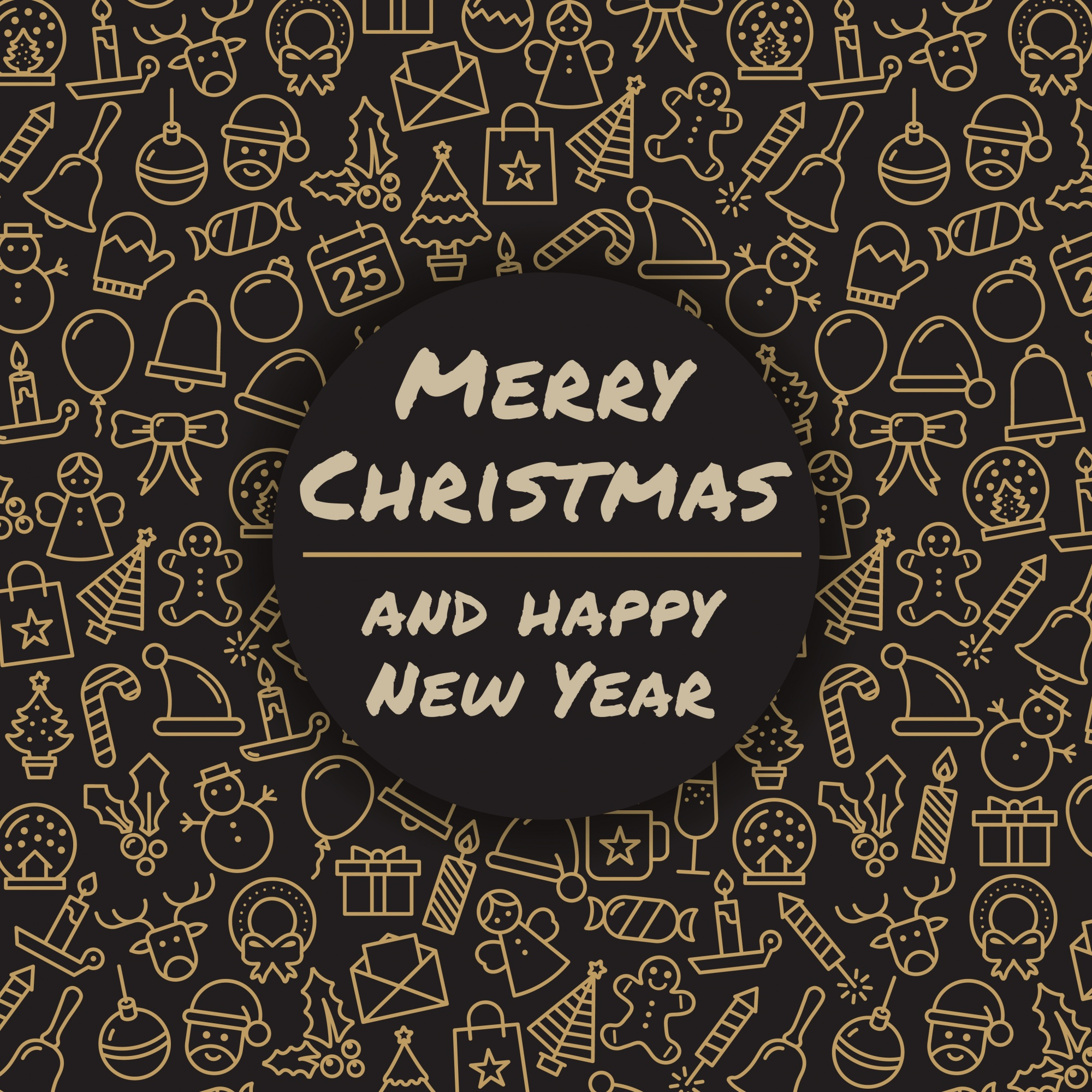 Merry Christmas and happy New Year. Winter holidays greeting card. Merry Christmas typography and calligraphy. Xmas icons.