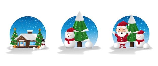 메리 크리스마스와 새해 복 많이 받으세요 겨울 시즌 일러스트 시즌 산타 클로스