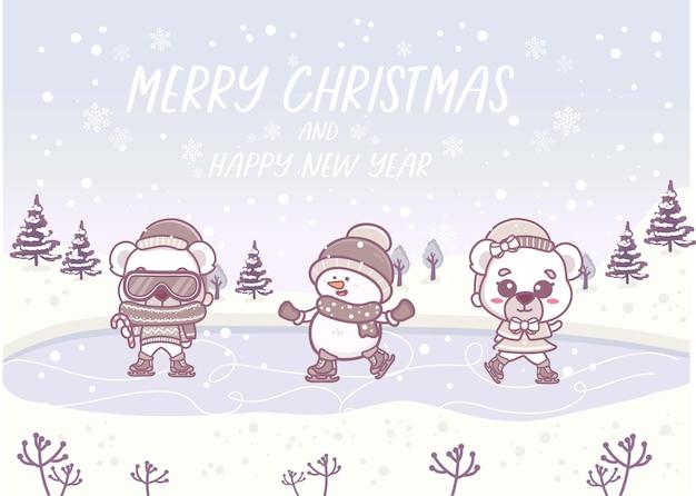 Веселого рождества и счастливого нового года зимний векторный пейзаж со снеговиком и полярным медведем на коньках на снегу. праздник природы фон баннера.