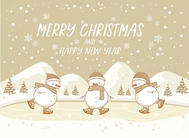 С рождеством и новым годом зимний векторный пейзаж со снеговиком на коньках на снегу. винтажная природа фон баннера.