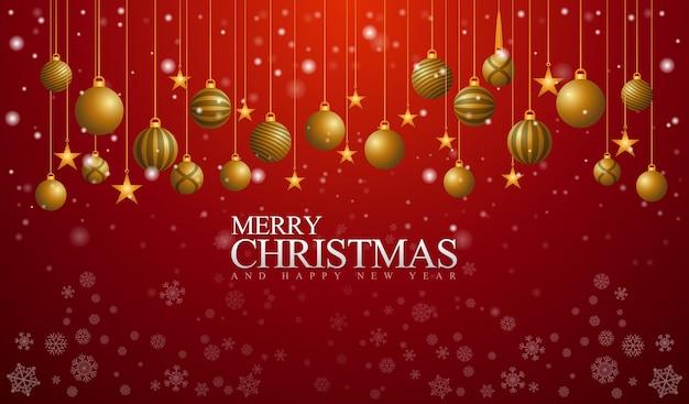 빨간색 배경과 황금종이 있는 기쁜 성탄과 새해 복 많이 받으세요