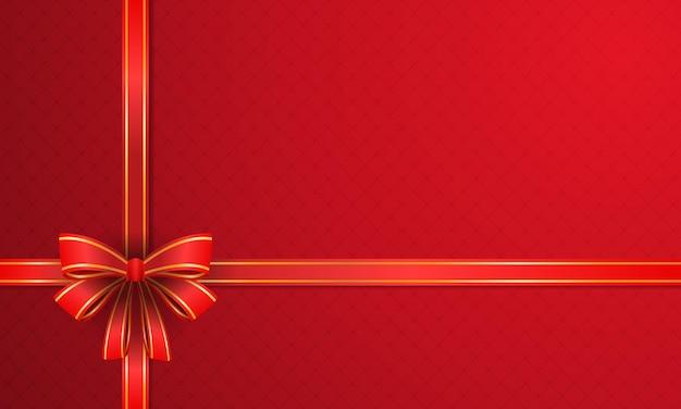 빨간색 배경과 황금색 빨간 리본이 있는 기쁜 성탄과 새해 복 많이 받으세요