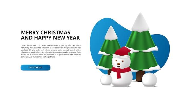 Веселого рождества и счастливого нового года с милой 3d елью, сосной и милым снеговиком