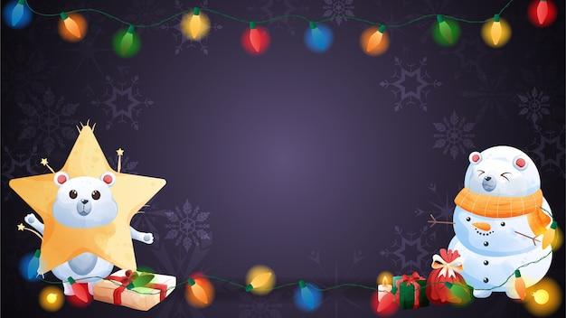Веселого рождества и счастливого нового года с милым полярным медведем.