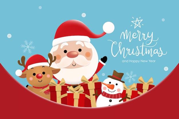 Веселого рождества и счастливого нового года с милым санта-клаусом, оленями и снеговиками.