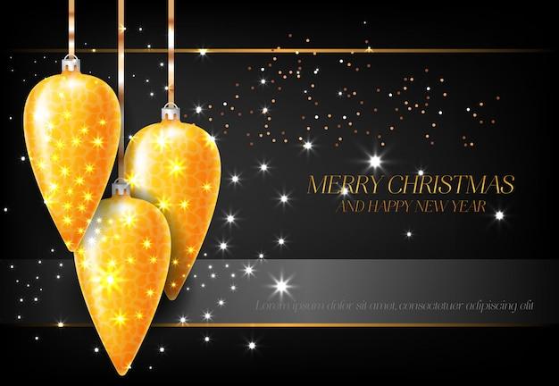 金色の装飾とメリークリスマスと新年あけましておめでとうございます
